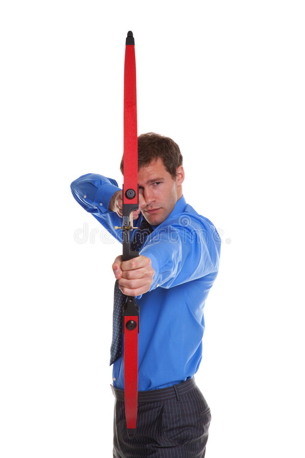 Businessman bow and arrow aiming at camera stock images