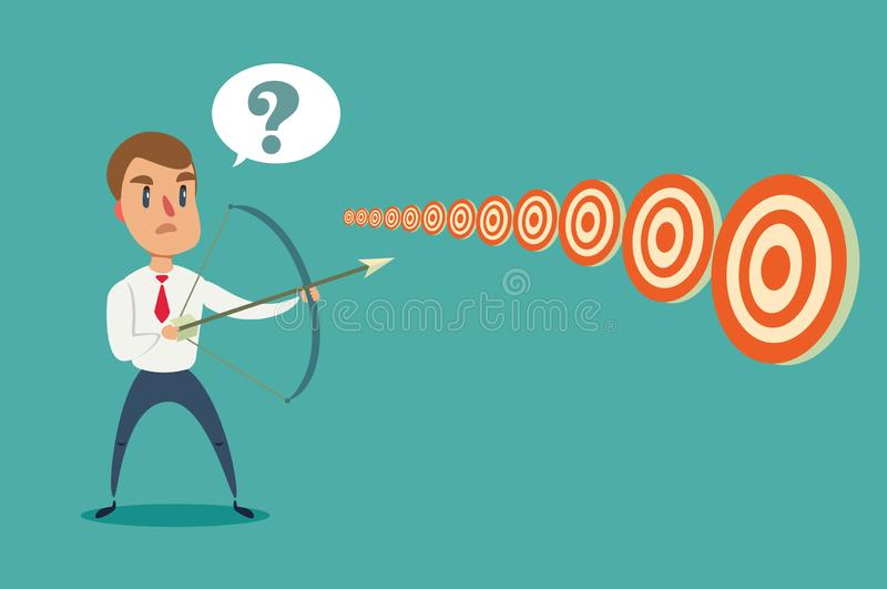 Businessman with bow and arrow look at multiple targets. Cannot decide which target to shoot at. Stock flat vector illustration royalty free illustration