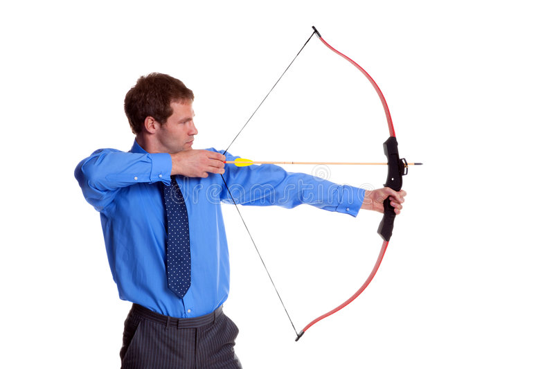 Businessman bow and arrow side view royalty free stock photo