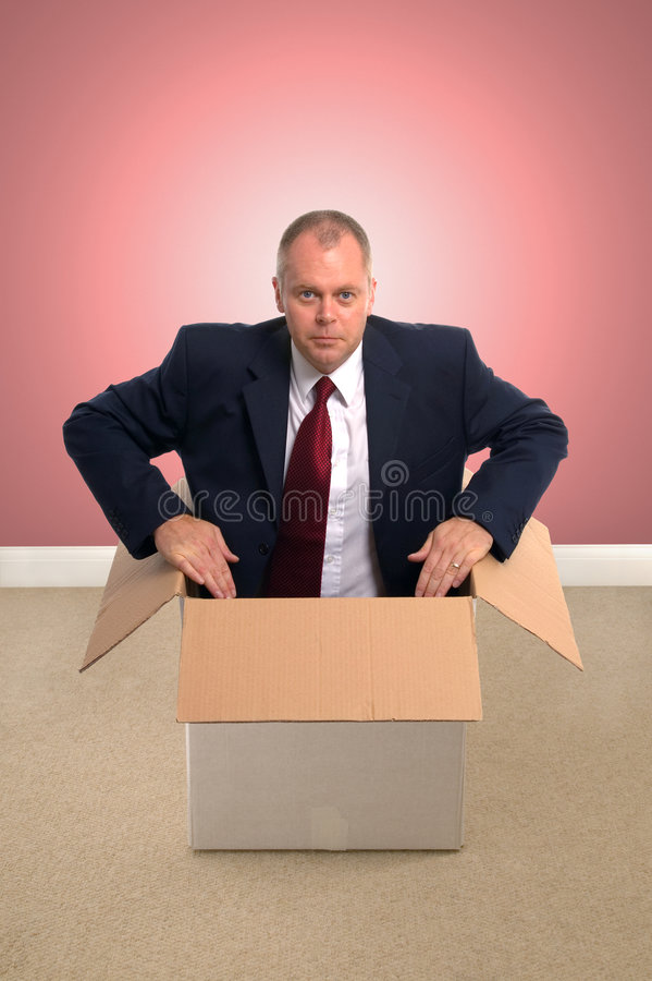 Businessman in a box. stock images