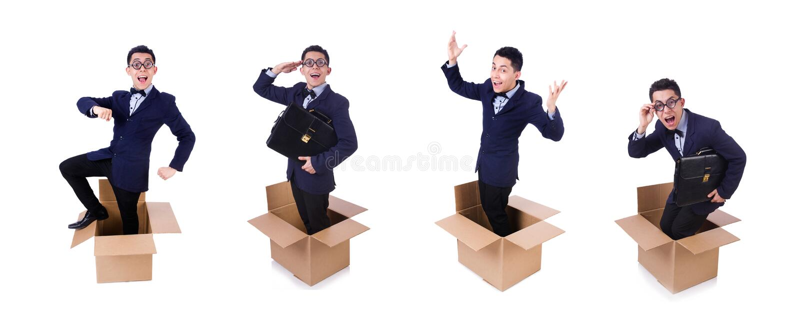 Businessman with box isolated on the white stock photos