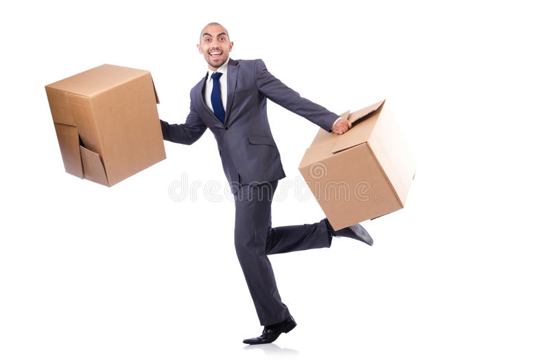 Download Businessman with box stock photo. Image of delivering - 33347462