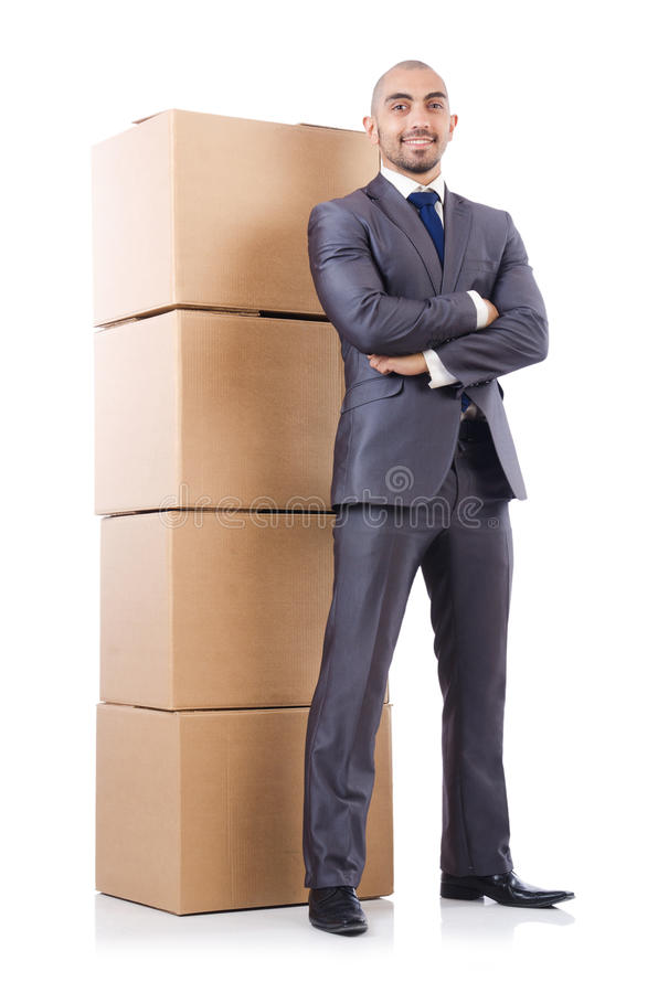Download Businessman with box stock image. Image of office, moving - 33347483