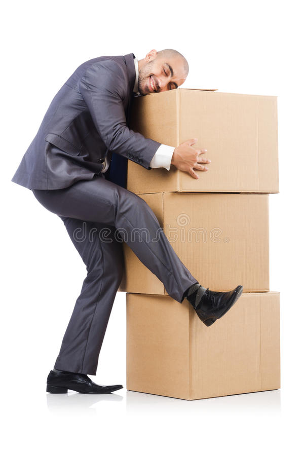Businessman With Box Royalty Free Stock Images