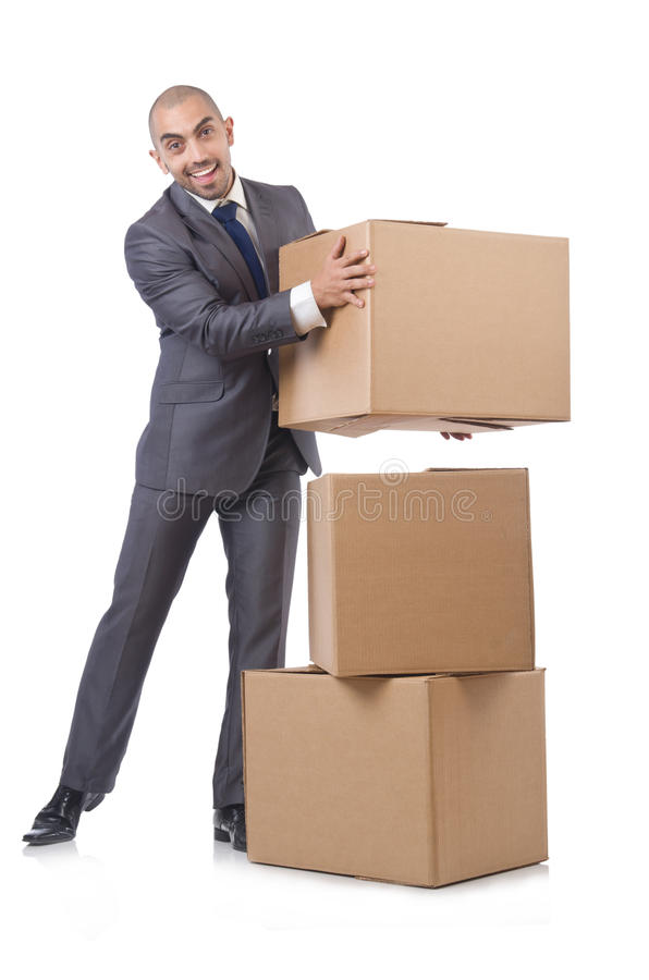 Download Businessman with box stock photo. Image of container - 33494236