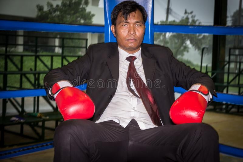 Businessman with boxing royalty free stock photo