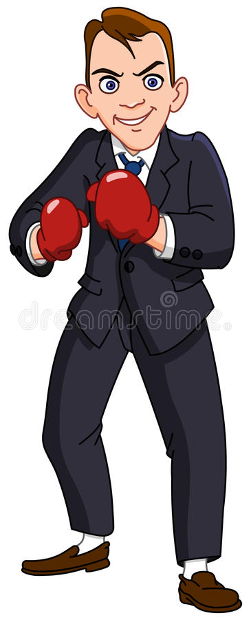 Businessman with boxing gloves vector illustration