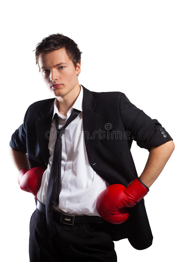 Businessman with boxing gloves. royalty free stock photography