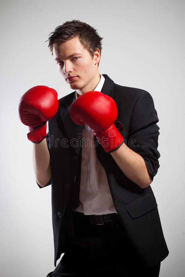 Businessman with boxing gloves. royalty free stock photos