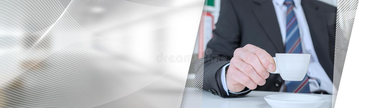 Businessman during a break; panoramic banner. Businessman during a break drinking coffee; panoramic banner stock image