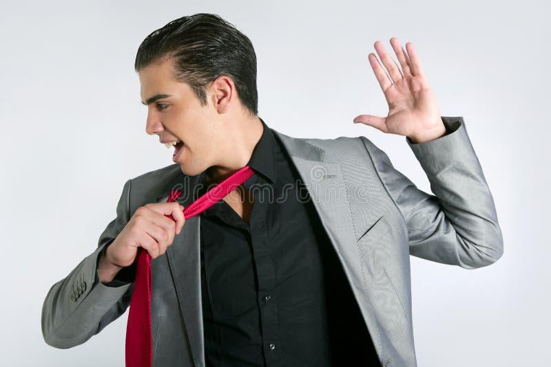 Businessman Break Finish Work Take Off Tie Royalty Free Stock Images