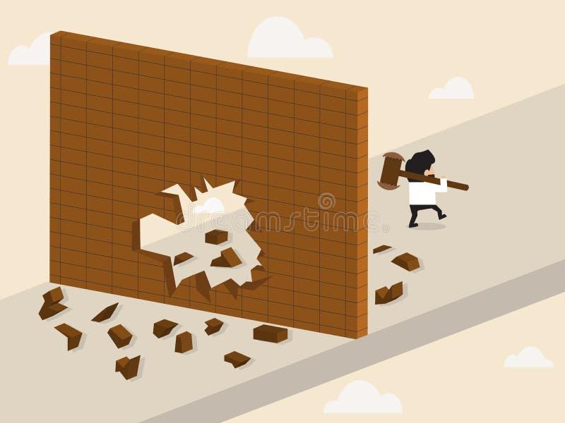 Businessman break a wall and walk apart. Vector cartoon of Businessman break a wall and walk apart stock illustration