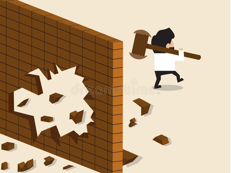 Businessman break a wall and walk apart. Vector cartoon of Businessman break a wall and walk apart royalty free illustration