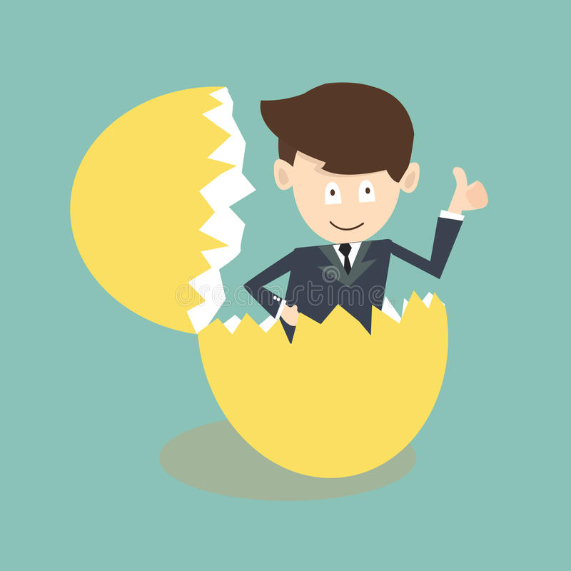 Businessman breaking out of an eggshell vector illustration