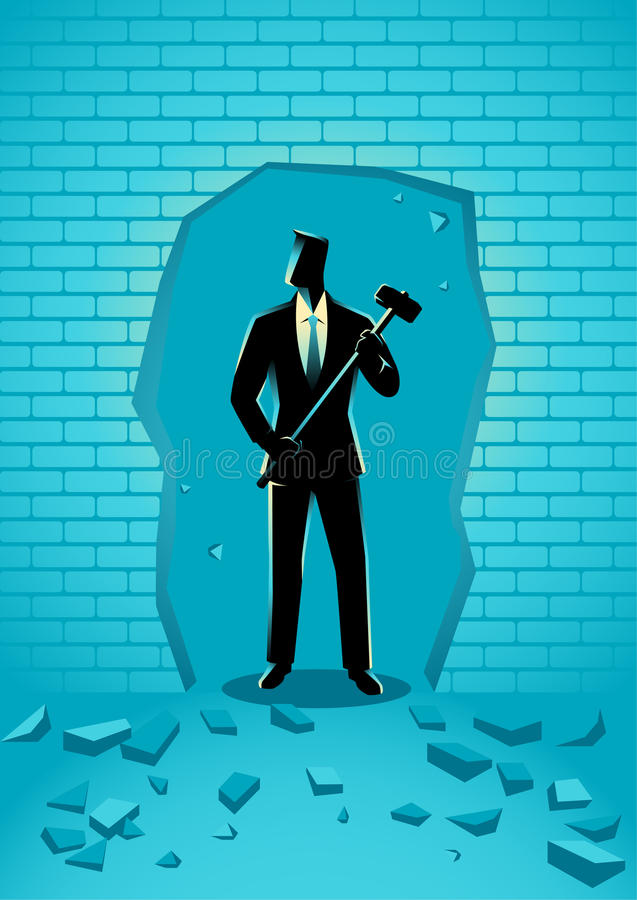 Businessman breaking the wall with hammer stock illustration