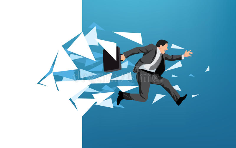Businessman breaking through wall stock illustration