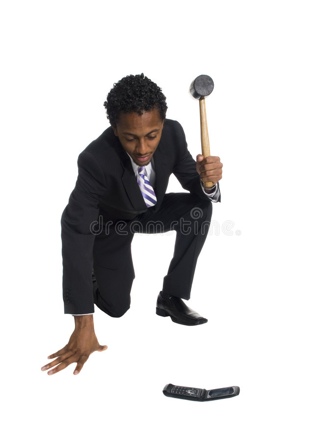 Download Businessman Breaks Cell Phone Stock Image - Image: 6272185