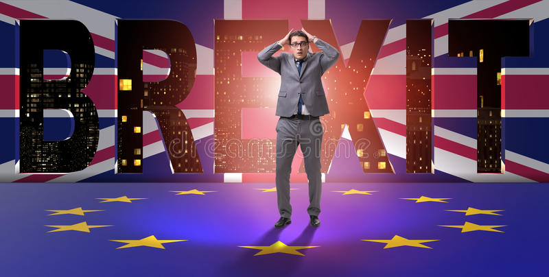 The businessman in brexit concept - uk leaving eu. Businessman in Brexit concept - UK leaving EU royalty free stock image
