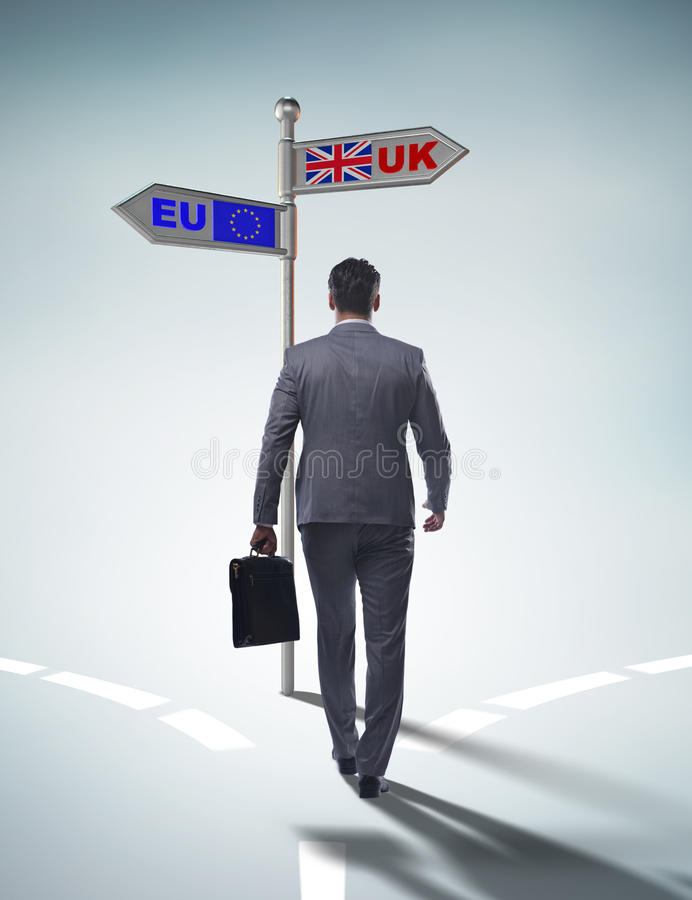 The businessman in brexit concept - uk leaving eu stock photo