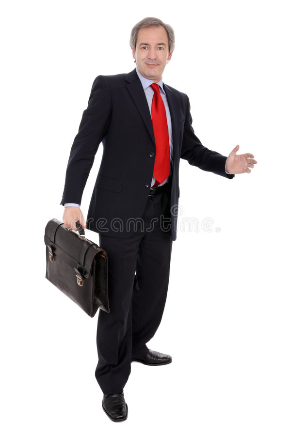 Businessman with briefcase. Smiling middle aged businessman with briefcase, isolated on white background stock images