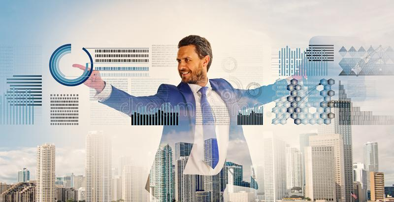 Businessman with briefcase business center background. Financial statistics digital technology. Digital business concept royalty free stock images