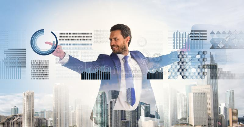 Businessman with briefcase business center background. Financial statistics digital technology. Digital business concept royalty free stock photo