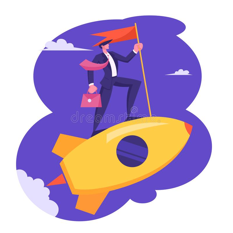 Businessman with Briefcase and Red Flag in Hand Riding Gold Rocket in Sky. Business Leadership, Creative Startup Launch stock illustration