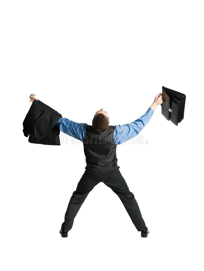 Businessman With Briefcase Spreading Out His Arms Stock Photo