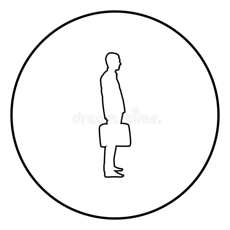 Businessman with briefcase standing Man with a business bag in his hand silhouesse icon black color illustration in circle round. Businessman with briefcase royalty free illustration