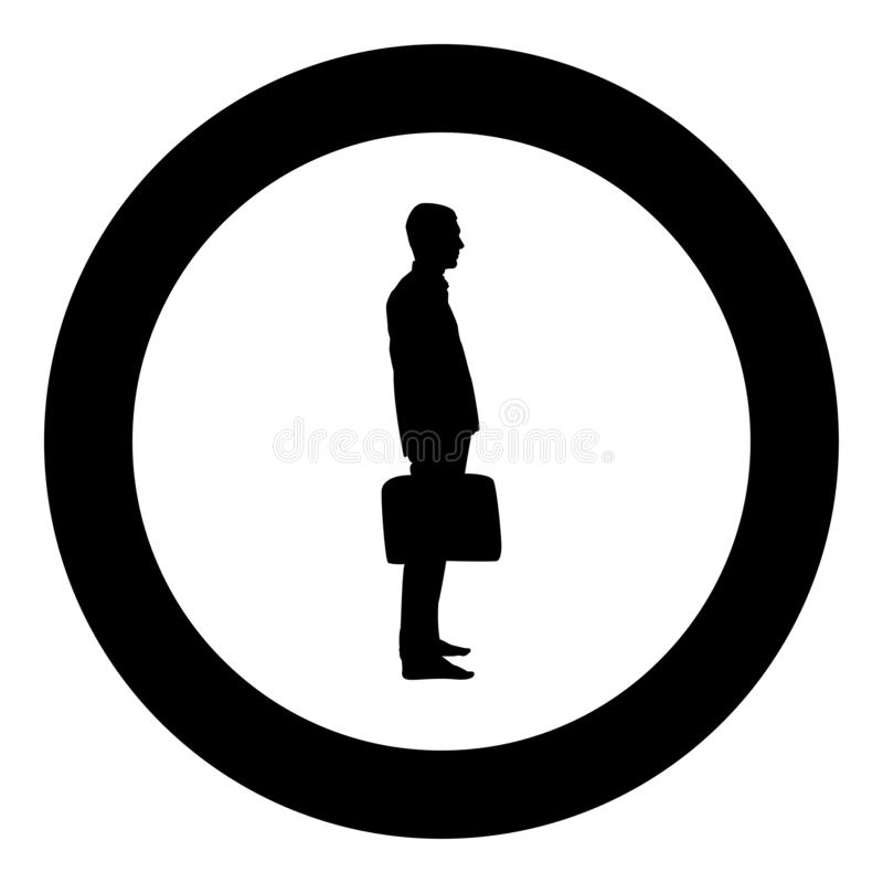 Businessman with briefcase standing Man with a business bag in his hand silhouesse icon black color illustration in circle round. Businessman with briefcase vector illustration