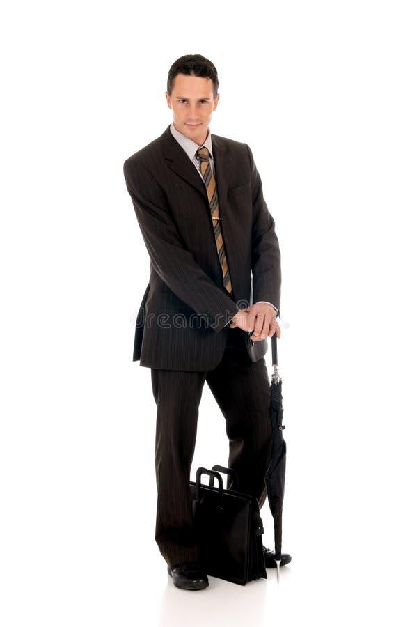 Businessman briefcase umbrella stock photography