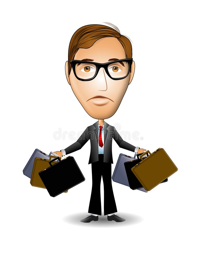 Businessman Briefcases. An illustration featuring an unhappy businessman who is overworked, holding onto multiple briefcases stock illustration