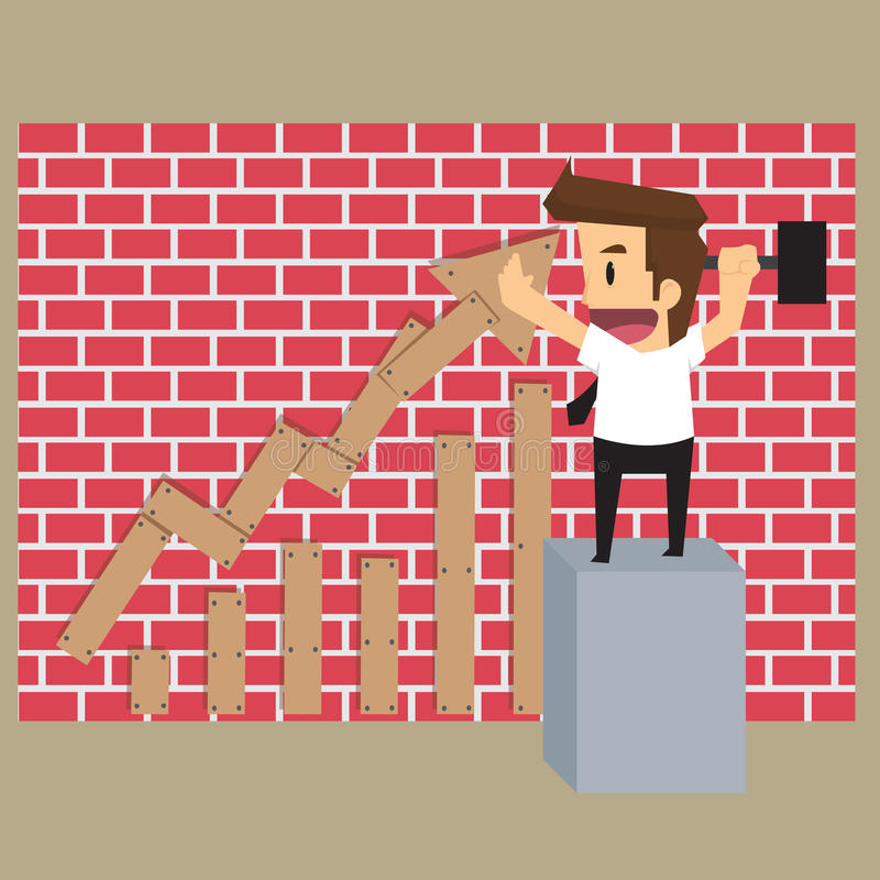 Businessman build graphs increase, the income generated by thems. Elves. vector stock illustration
