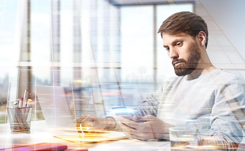 Businessman building double exposure royalty free stock images