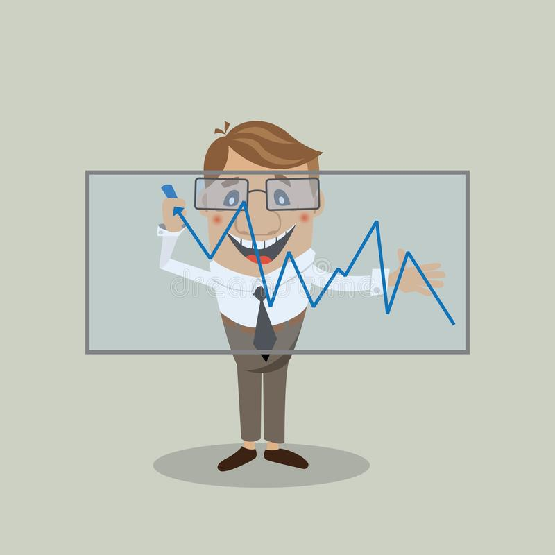 Businessman builds a graph royalty free illustration