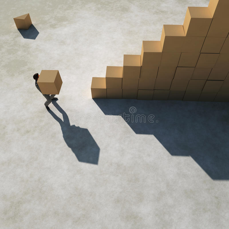 Businessman builds a stairs stock illustration