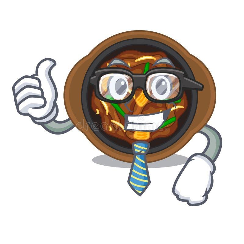 Businessman bulgogi in a the bowl cartoon. Vector illustration stock illustration