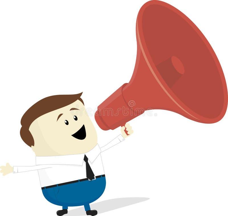 Businessman with bullhorn. Businessman cartoon with bullhorn isolated on white background vector illustration