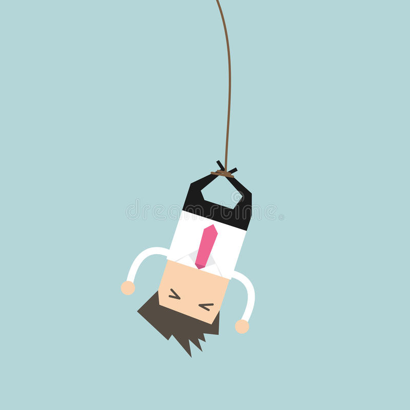 Businessman bungee jumping stock illustration