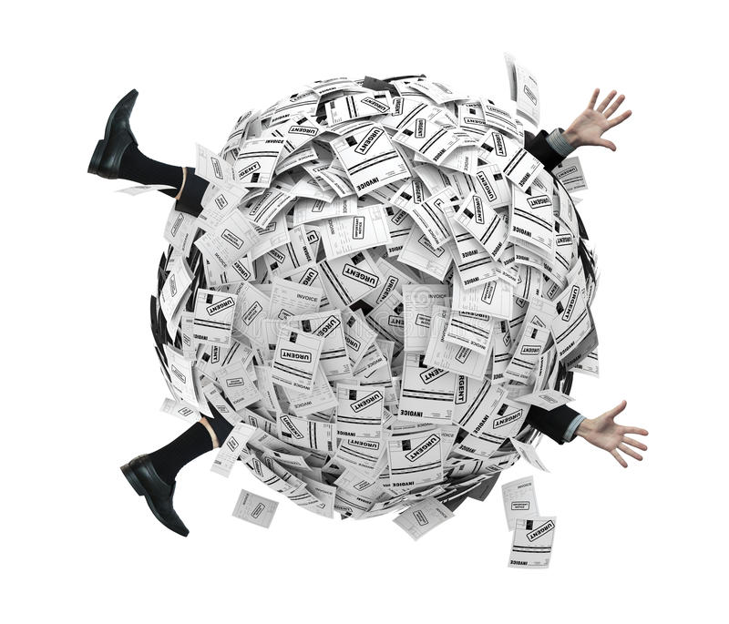 Download Businessman Buried In Sphere Of Financial Invoices Stock Illustration - Image: 15720938