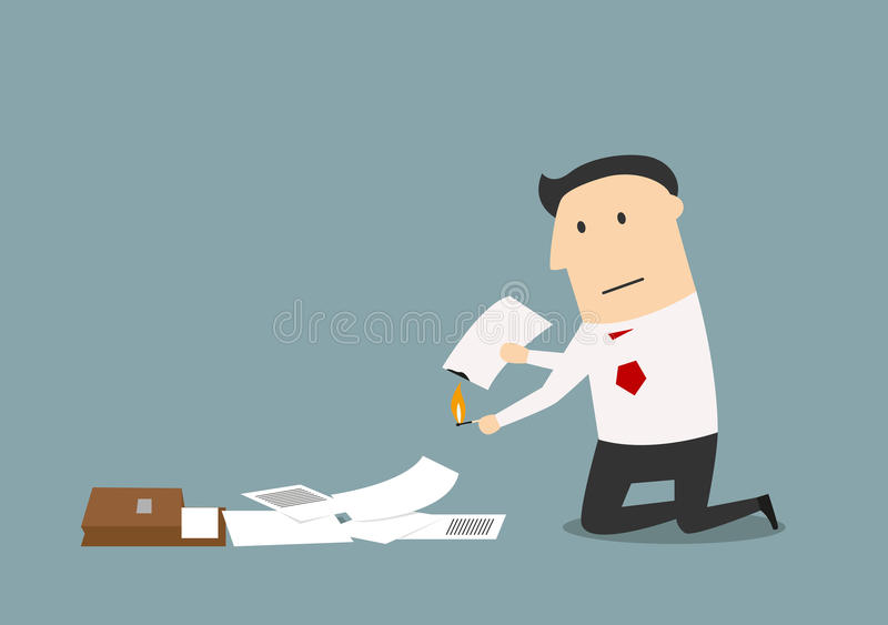 Businessman burning up a business documents. Cartoon sad businessman burning up paper documents, contracts and notes royalty free illustration