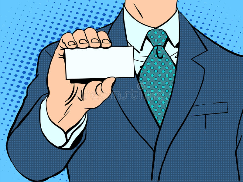 Businessman and business card stock illustration