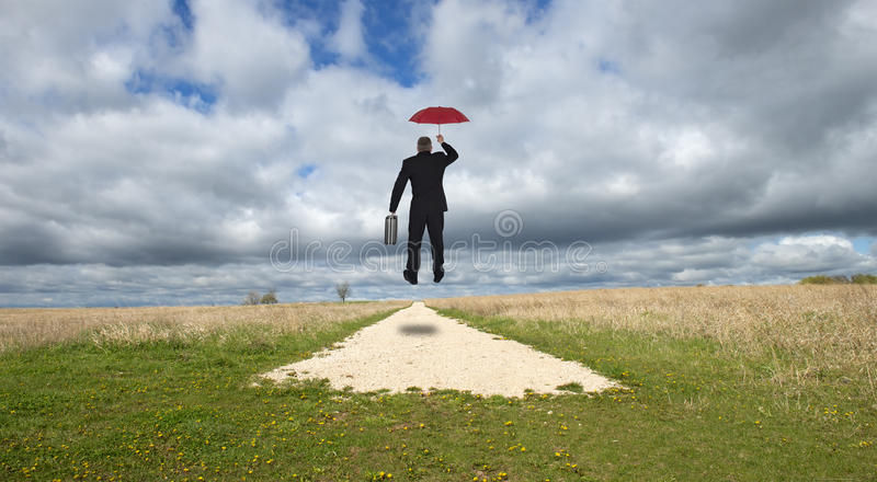 Businessman, Business Career on Road to Success. An abstract concept of a businessman and his career on the road to success. The man is on his way in business as stock photography