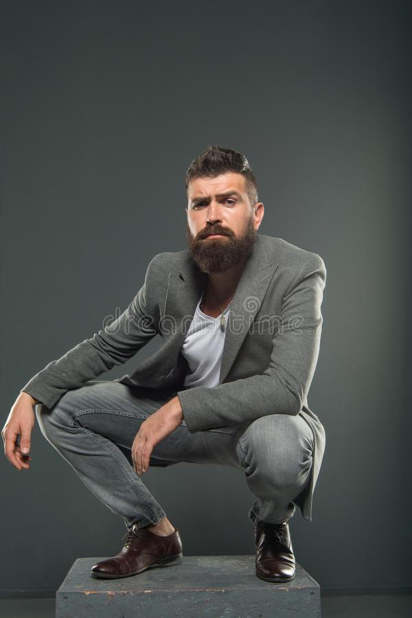 Businessman. Business fashion and dress code. Bearded man. Male formal fashion. Brutal man with hipster beard. confident royalty free stock images