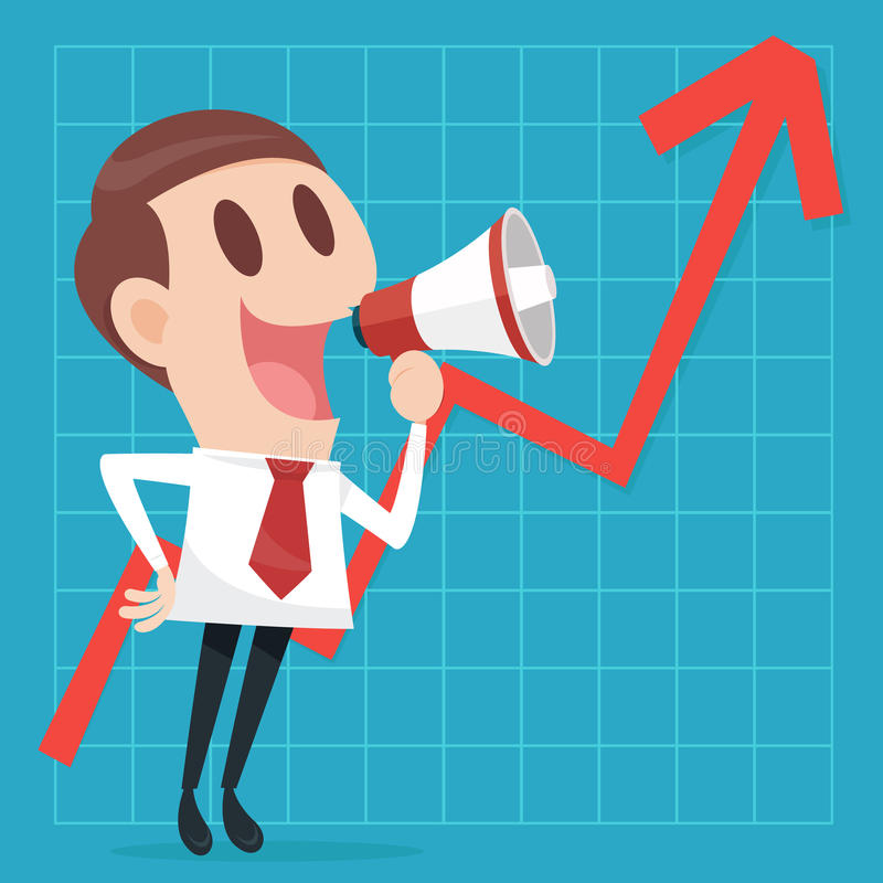 Businessman with business growing graph royalty free illustration