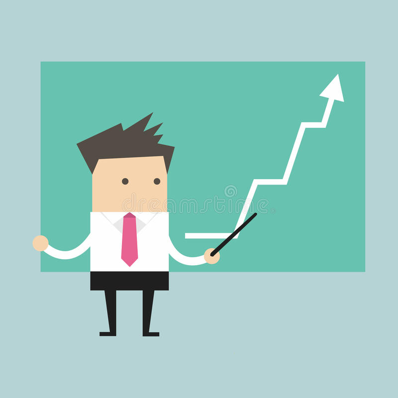 Businessman with business growing graph stock illustration