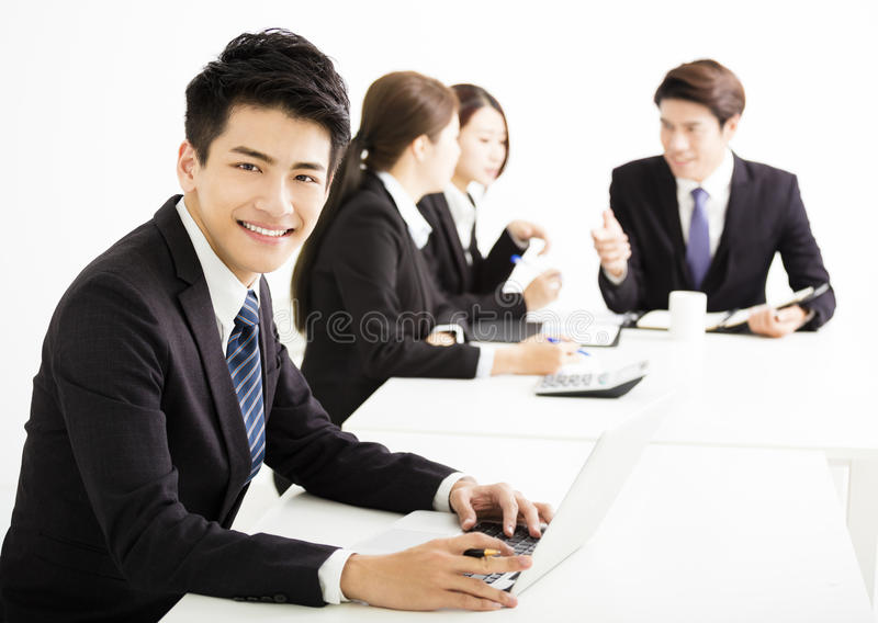 Businessman with business people having meeting together. Asian businessman with business people having meeting together royalty free stock images