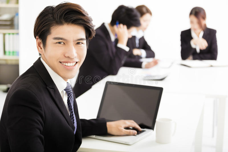Businessman with business people having meeting together. Asian businessman with business people having meeting together royalty free stock photos