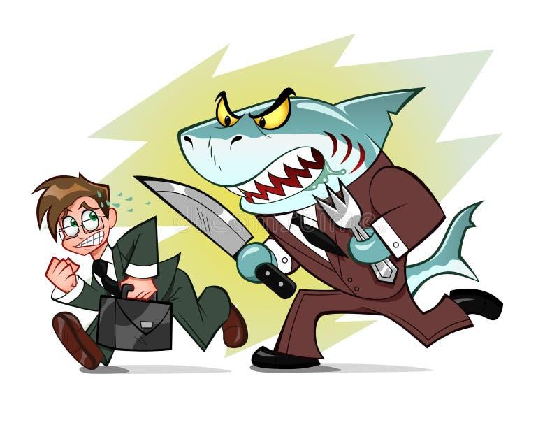 Businessman and business shark stock illustration