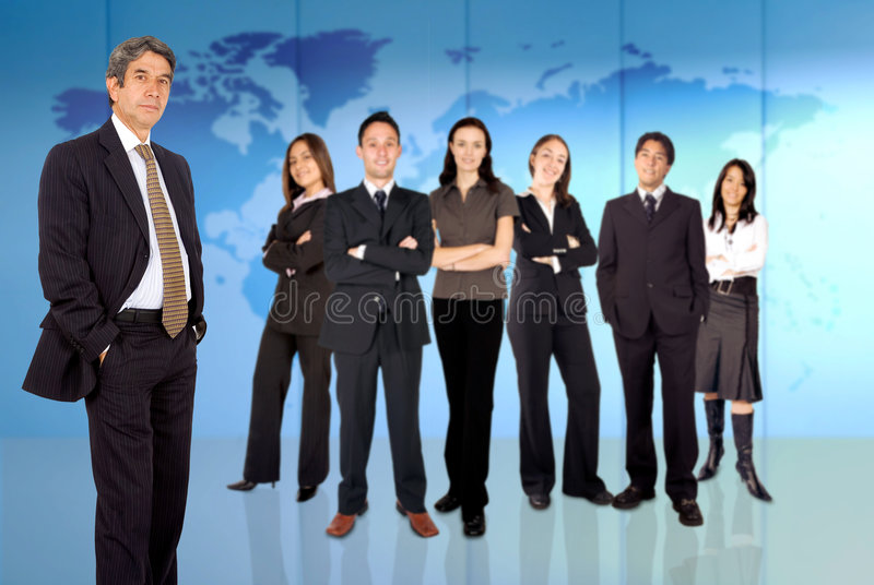 Businessman with business team